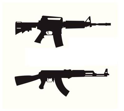 Mp5 Navy, AK-47, Colt m4a1.